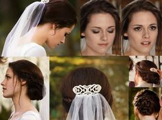 I might as well get over it and admit that this is the best hair & makeup I've seen for my wedding. I like Twilight, but didn't want my wedding inspiried by it. Oh well...  Hair: two loose braids on either side pulled back into a low bun  Makeup: champagne and charcoal eyeshadows and peach gloss