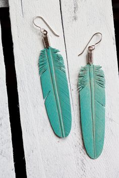 leather feather earrings  hand carved  dusty by heidiroland, $25.00