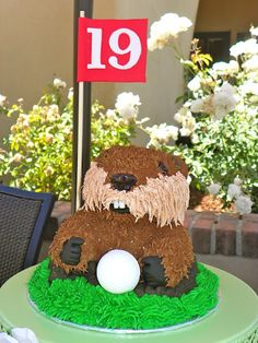 Caddyshack Gopher with Golf Ball Cake