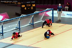 The USA women's goalball team defends a shot against their goal at the 2012 Paralympic Games in London