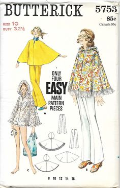 1960's Butterick 5753 Misses Cape And Pants Sewing Pattern, Size 10, UNCUT by DawnsDesignBoutique on Etsy