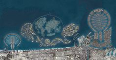 An example of the Modern Engineering's success, these islands are the worlds biggest artificial islands in Dubai, United Arab Emirates. Palm Island Dubai, Dubai Map, Dubai Location, Darling In The Franxx, Futuristic Architecture, United Arab Emirates, Aerial View, Wonders Of The World, City