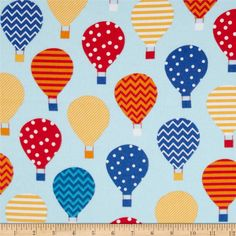Urban Flotologie Flannel Hot Air Balloons Rainbow from @fabricdotcom  Designed by Ann Kelle for Robert Kaufman, this double-napped (brushed on both sides) flannel fabric is perfect for quilting, apparel and home decor accents. Colors include yellow, red, orange, white and shades of blue.