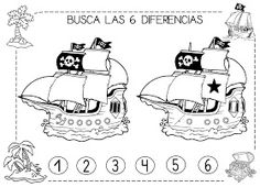 Mi grimorio escolar: BUSCA LAS 6 DIFERENCIAS PIRATAS Preschool Pirate Theme, Pirate Activities, Activities For Kids, Pirate Birthday, Pirate Party, Summer School, Pictures To Draw, Fun Learning, Peter Pan
