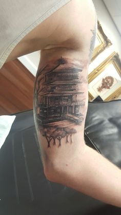 Tattoo, Japanese temple, pagoda