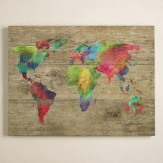 Artist Sandra Jacobs relishes in the accidental side effects the watercolor medium provides like the unexpected blending of colors. This contemporary yet vintage-looking map marries her passion for travel and art.