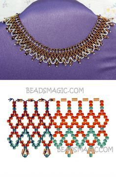 Free pattern for necklace Bronze Lace seed beads 11/0 short bugles