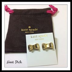 """Kate Spade Moon River Studs Time to shine! Shiny Gold-colored metal, 14-karat gold-filled posts. Width 1"""", drop 0.5"""" Includes dust bag.  PayPal  Trades  Holds kate spade Jewelry Earrings"""