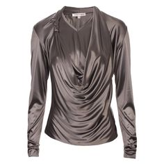 Eugene Lin Grey silk jersey draping top ❤ liked on Polyvore