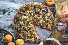Balsamic Roasted Peach, Almond, and Cilantro Pizza