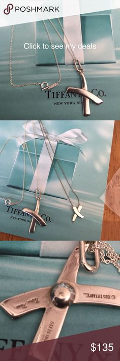 """1985 retired Tiffany necklace This was an earring. I took it to the jeweller and had it made into a necklace. I added a new Tiffany 16"""" chain. Please see the last photo for the size and how it compares the the regular size x necklace it is GORGEOUS. Tiffany & Co. Jewelry Necklaces"""