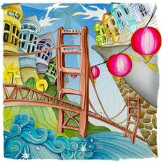 """SanFrancisco, From Lizzie Mary Cullen book """"Magical City"""". Colored by Me (Roger Malinowski) using Tombow and Winsor & Newton watercolor markers:"""
