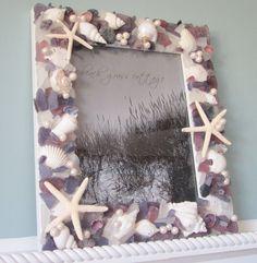 Sea Glass & Seashell Frame for Beach Decor  by beachgrasscottage, $99.00