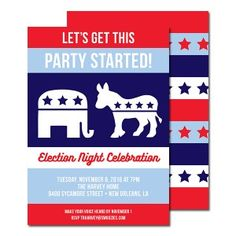 Republicans and democrats are facing off at the election party of year. Digital Invitations, Party Invitations, Election Night Party, Enrichment Programs, Patriotic Party, Get The Party Started, Political Party, Party Themes, Party Ideas