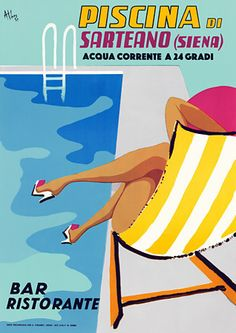by the swimming pool in Sarteano,  Tuscany , Italy  http://www.vintagevenus.com.au/products/vintage_poster_print-tv758