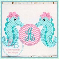 Monogram Sea Horses Applique
