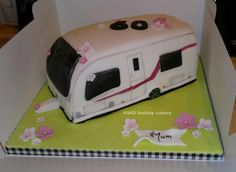 """I was given a picture of a """"SWIFT conqueror"""" caravan to replicate as a surprise for a here it is! Thank you for looking lovelies xx Fondant Rose Tutorial, Caravan Cake, Mum Birthday, Birthday Cakes, Camping Cakes, Unique Cakes, Celebration Cakes, Themed Cakes, Cake Art"""