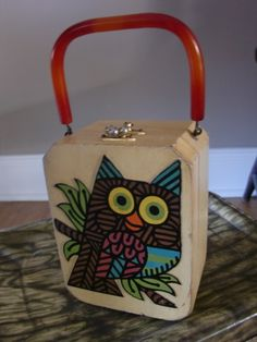 VINTAGE 1960s Wooden OWL PURSE by Miki