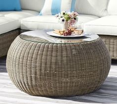 Torrey All-Weather Wicker Round Coffee Table - Natural
