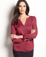 Tipped V-Neck Tunic - Cool, confident hues add brilliant pop to the season, as shown by this lustrous style. Split neck. Long sleeves with button closure. Flap patch chest pockets.