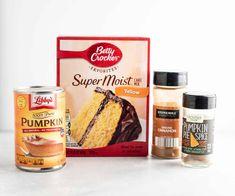 Pumpkin Spiced Latte Recipe, Pumpkin Pie Mix, Pumpkin Puree, Gluten Free Yellow Cake Mix, All You Need Is, Cake Mix Muffins, Pumpkin Muffin Recipes, Pumpkin Chocolate Chip Muffins, Cake Mix Recipes