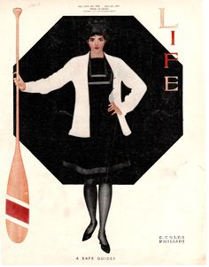 "Coles Phillips- Life Magazine cover (July 27, 1911) ""A Safe Guide?"" Fadeaway girl"