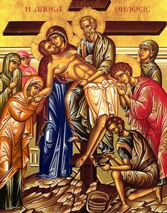 Holy Friday Afternoon - Apokathylosis Jesus is taken down from the Cross (Mark Religious Images, Religious Icons, Religious Art, Holy Friday, Greek Icons, Christian Artwork, Orthodox Christianity, Byzantine Icons, Holy Week