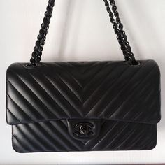 034984f5df82 chanel classic flap bag black on black lambskin medium Chanel Classic Flap,  Chevron Quilt,
