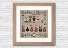 Travel back to the Tudor era with this cross stitch pattern that features Henry VIII Tudor and his six Wives, together with the coronation symbols, Henry VIII sigil and the Church schism symbol. On bottom, the Tudor rose together with the white rose of th Tudor Rose, Strange History, History Facts, Henry Viii, King Henry, Back Stitch, Cross Stitching, Cross Stitch Patterns, Stitching Patterns