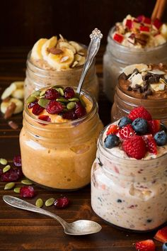 Pumpkin Pie Overnight Oats in jar topped with pumpkin seeds and cranberries