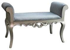 Celine Silver French Velvet Bench traditional bedroom benches