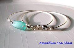 Bangle Set   GENUINE Sea Glass Bangle And Initial Letter Bangle Bracelet by aquablueseaglass, $29.99 FREE SHIPPING