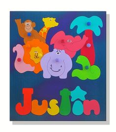 or Baby Room Decor Displaying Your Childs Name Farm Animal Personalized Wooden Name Puzzle Great Educational Puzzel Party Favor