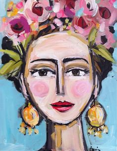 Frida Kahlo Portrait Paintingflowers pink coral by DevinePaintings