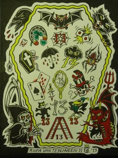 Friday the 13 traditional flash tattoos old school for Friday the 13th tattoos michigan