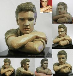 Elvis clay sculpture - Elvis bust with arms (palm size, approx. 11cm / 4.5 inches (sculpture height)  by sculptor Stephen Pong, 2012. See more at: http://www.pong.com.au/elvis_sculpture_arm.htm