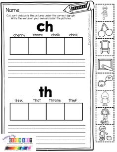 Digraphs - Phonics Unit 6 - FREEBIE Digraph Printables - Phonics in kindergarten and first gr Free Kindergarten Worksheets, Kindergarten Language Arts, Kindergarten Lesson Plans, Kindergarten Literacy, Classroom Activities, Classroom Ideas, Digraphs Worksheets, Literacy Worksheets, Literacy Centers