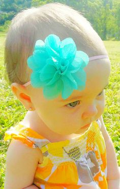 Aqua Blue Flower Baby Headband by TinyTulipBoutique on Etsy, $7.50