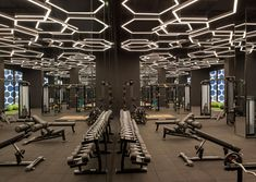 Fitness interior design gym lights 44 Ideas for 2019 Training Fitness, Fitness Humor, Fitness Logo, Fitness Workouts, Muscle Fitness, Mens Fitness, Academia Completa, Luxury Gym, Gym Lighting
