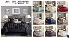 Madison Park Laurel 7 Piece Comforter Set in 10 Colors and 4 Sizes Girl Room, Comforters, Tufted Bed, Bedroom Decor, Comforter Sets, Bedding Collections, Creative Home Decor, Buy Bed, King Comforter