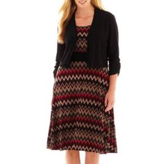 Perceptions Chevron Print Dress with Jacket - Plus  found at @JCPenney