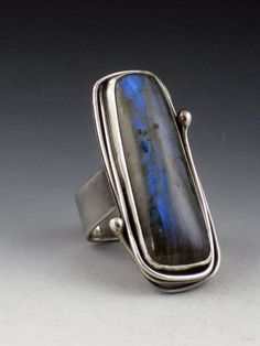 Large Long Labradorite Ring cocktail ring by MicheleGradyDesigns
