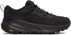 Hoka One One Black Kaha Gore-Tex Low Sneakers Textile Logo, Black And Grey, Color Black, Embossed Logo, Gore Tex, The One, Hiking Boots, Women Wear, Lace Up