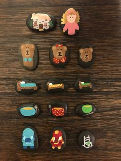 Goldilocks and the Three Bears Story Stones Painted Rocks Sensory Activities, Hands On Activities, Toddler Activities, Projects For Kids, Art Projects, Metallic Rock, Bears Preschool, Painted Rocks, Hand Painted