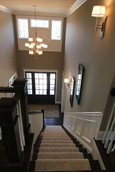 Stairs, wall color, dark door and sidelights. BIA Parade of Homes Photo Gallery. Love the wall color for my foyer. Decoration Bedroom, Interior Paint Colors, Interior Painting, Parade Of Homes, Living Room Paint, Living Rooms, Home Photo, My Dream Home, Home Projects