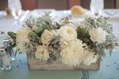 Rustic Winter Mountain Wedding- White and green centerpiece