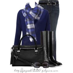 """Black and Blue Plaid"", created by jaycee0220 on Polyvore"