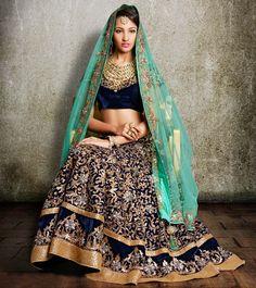 Hippily - Pitta Mukaish Work Velvet Lehenga @ 292500 INR #indianroots