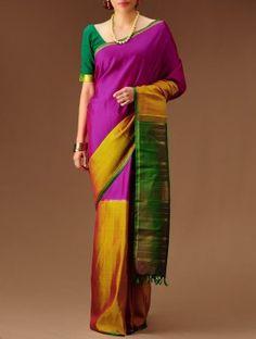 Yellow-Green-Magenta Handloom Kanchipuram Silk Saree
