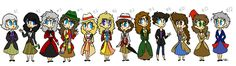 Doctress Who by CherryBarrie - I love how everyone has a dress or skirt and hen Nine in jeans/leggings XD
